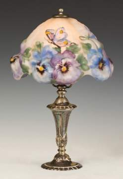 Pairpoint Puffy Pansy and Butterfly Boudoir Lamp