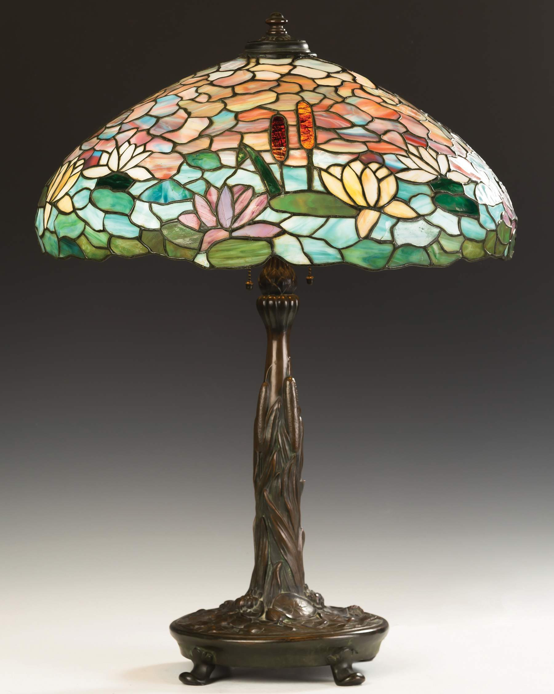 Wilkinson water lily and cattail leaded glass table lamp cottone wilkinson water lily and cattail leaded glass table lamp aloadofball Choice Image