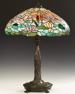 Wilkinson Water Lily and Cattail Leaded Glass Table Lamp