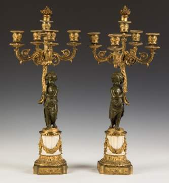 Pair of French Marble and Gilt Bronze Candelabras