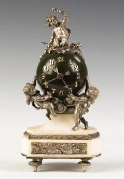 French Miniature Patinaed Metal and Marble Cherub Clock