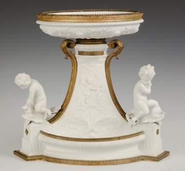 Porcelain and Gilt Bronze Centerpiece with Cherubs and Putti