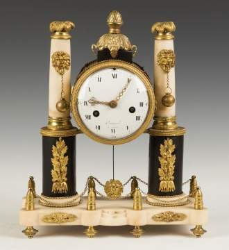 French Empire Marble and Gilt Bronze Mantel Clock