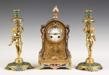 French Champlevé and Gilt Bronze Mantel Clock with Figural Candlesticks