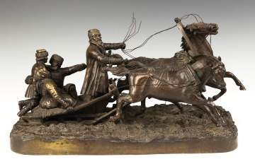 After Evgeni Alexandrovitch Lanceray (Russian, 1848-1886)  Group of a Troika, Bronze Sculpture