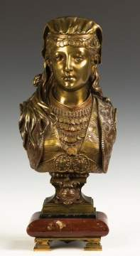 "Zacharie Rimbez (French, 19th century) ""Jeune Egyptienne"" Patinaed Bronze Bust Middle Eastern Lady"