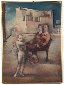 Joseph Floch (American/Austrian, 1894-1977) Women and  Children with an Architectural Background