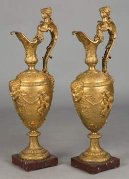 Pair of French Gilt Bronze Ewers, in the Manner of Clodion