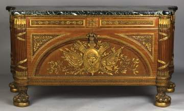 Louis XVI Style Marble Top Commode a Vantaux