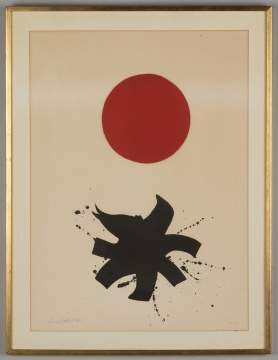 "Adolph Gottlieb (American, 1903-1974) ""White  Ground, Red Disc"""