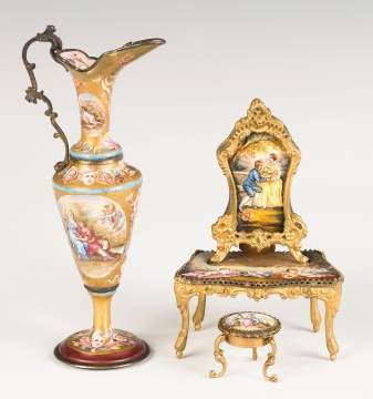 Viennese Enameled Ewer and Dressing Table with Music Box