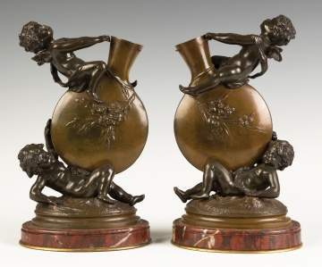 Auguste Moreau (French, 1834-1917) Bronze Cherub Vases with Marble Bases
