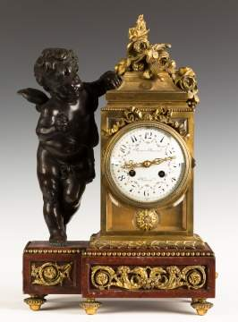 Prosper Roussel French Gilt Bronze and Marble Mantel Clock