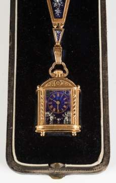 Fine French Enameled and Gold Pendant Watch