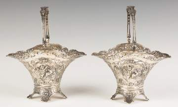Silver Reticulated Baskets with Cherubs and Glass Liners