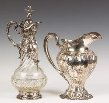 Crystal Ewer and Sterling Pitcher