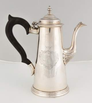 William Partis, English Sterling Silver Lighthouse Coffee Pot