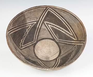 Early Mimbres Fine Line Geometric Bowl