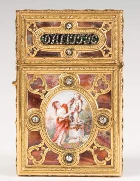 Fine Louis XV Gold, Diamond and Mother of Pearl Carnet de Bal