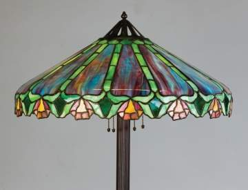Unusual Handel Leaded Glass Floor Lamp
