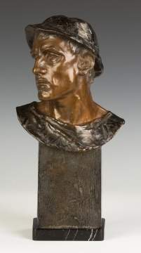 Adolf Josef Pohl  (Austrian, 1872-1930) Bronze  Bust of a Young Man with a Hat