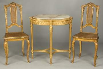 French Carved and Gilt Wood Chairs and Side Table