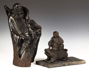 Chinese Carved Hardwood Figures