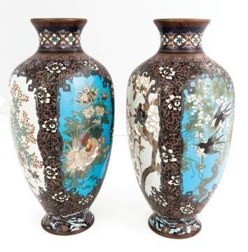 Fine Pair of Japanese Cloisonné Vases