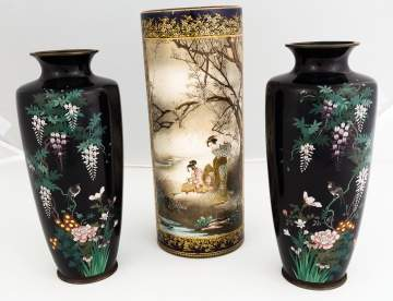 Pair of Japanese Cloisonné Vases and a Japanese Satsuma Vase