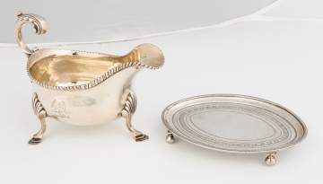 Sterling Silver Sauce Boat and Teapot Stand