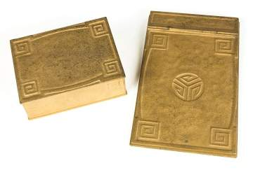 Tiffany Studios Covered Box and Notepad - Greek  Key Design