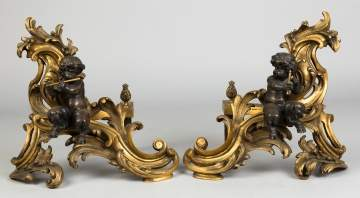 A Pair of Gilt Bronze and Bronze French Chenets with Putti
