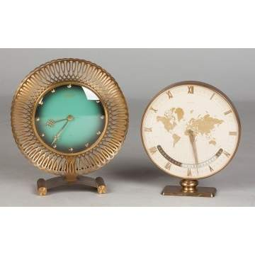 2 Mid-Century German Brass Table Clocks