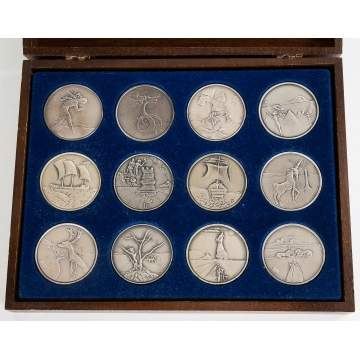 Salvador Dali (Spanish, 1904-1989) Homage to  Israel, 1973 - Set of 12 Silver Medals
