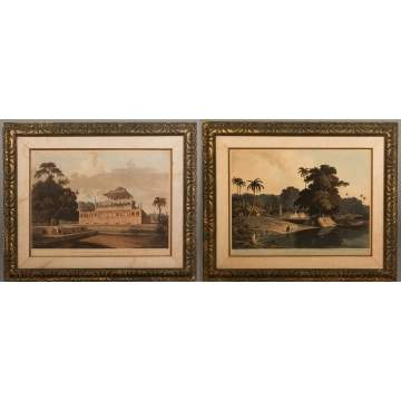 Pair of Thomas & William Daniell Colored Aquatints