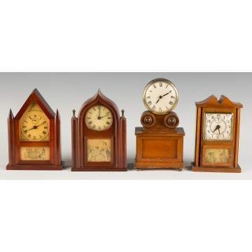Four Vintage Miniature Shelf Clocks