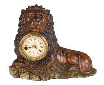 Rare Bradley and Hubbard Cast Iron Lion Blinking  Eye Clock