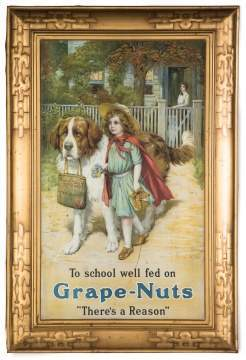 Vintage Tin Lithographed Self-Framed Grape Nuts  Sign