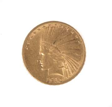 1913 Ten Dollar Indian Head Gold Coin