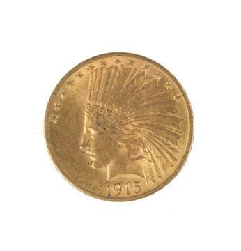 1915 Ten Dollar Indian Head Gold Coin