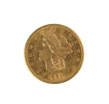 1891 Twenty Dollar Liberty Head Gold Coin