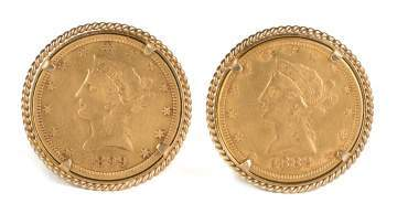 1882 Ten Dollar Liberty Head Gold Coin Cuff Links