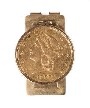 1897 Twenty Dollar Liberty Head Gold Coin Money  Clip