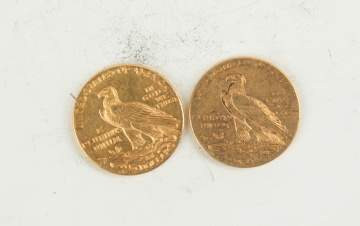 Two 1925 Two and a Half Dollar Indian Head Gold  Coins