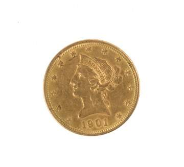 1901 Ten Dollar Liberty Head Gold Coin