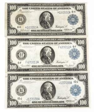 Three 1914 One Hundred Dollar Bills