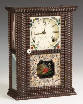 Unusual Brewster Mfg. Co. Square Cottage Ripple  Front Steeple Shelf Clock, Bristol, CT