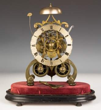 English Brass Skeleton Clock