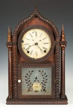 J.C. Brown Ripple Front Gothic Four Steeple Shelf  Clock