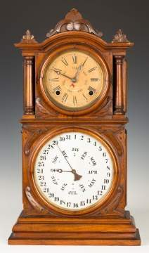 E. Ingraham & Co. Double Dial Calendar Shelf  Clock